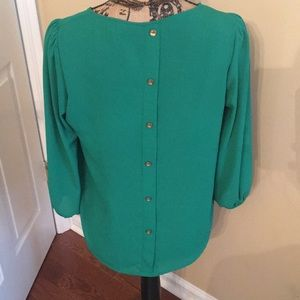 Green button back blouse